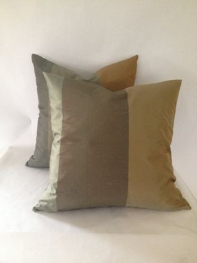 Custom Made Set Of 2: Gold And Green Multi Striped Silk Pillow Covers