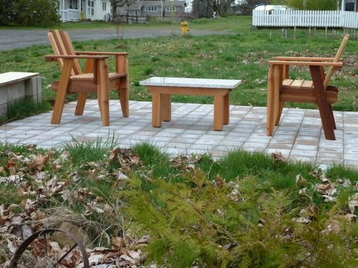 Custom Made Porch Chair & Outdoor Cedar Stone Table