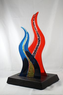 Custom Made Fused Glass Sculpture With Wooden Base