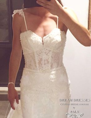Custom Made Sweetheart Mermaid Wedding Dress With Detachable Straps (# Krystal Pb120)