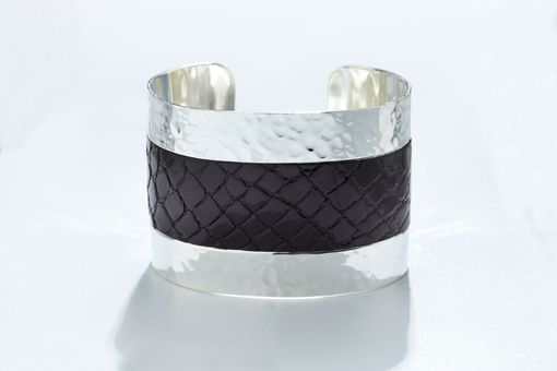 Custom Made Genuine Alligator Luxury Cuff/Bracelet With Hammered Silver Finish In Black