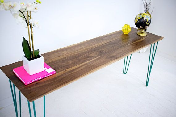 A Custom Made Walnut Console Table Teal Hairpin Legs Mid Century Modern Or Sofa To Order From Moderncre8ve Custommade