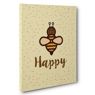 Custom Made Bee Happy Motivational Canvas Wall Art