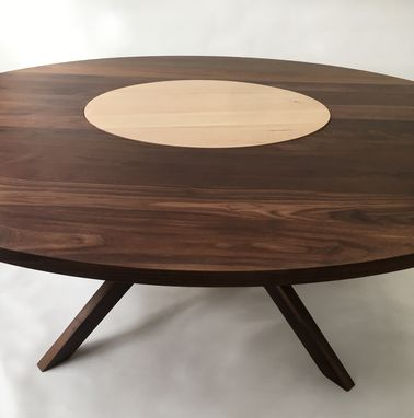 Custom Made Contemporary Modern Solid Walnut Round Dining Table With Maple Lazy Susan & Sculptural Walnut Legs