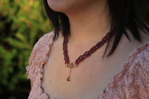 Custom Made Art Nouveau Hand Woven Garnet Necklace