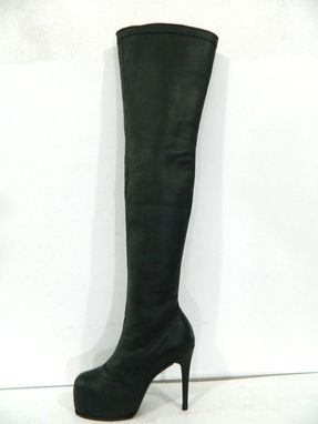 Custom Made Black Leather Thigh High Stiletto Boots Featuring A Round Toe Hiden Platform New