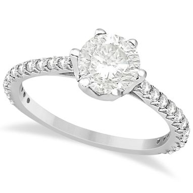 Custom Made Side Stone Accented Diamond Engagement Ring