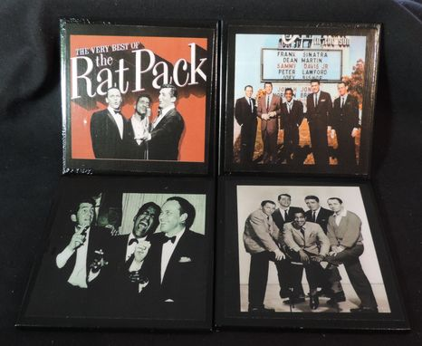 Custom Made Rat Pack Ceramic Tile Drink Coasters / Set Of 4