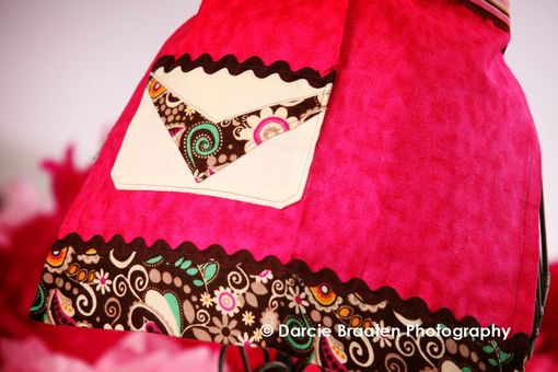 "Custom Made Pink, Cream, And Brown Flannel Apron ""Brownie Bliss''"