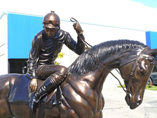 Custom Made Bronze Horse And Jockey / Bronze Polo Player | Life Size Custom Bronze Statues & Sculptures