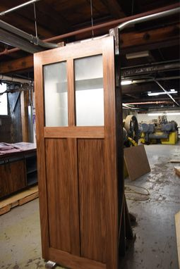 Custom Made Walnut 2 Pane Sliding Glass Barn Door