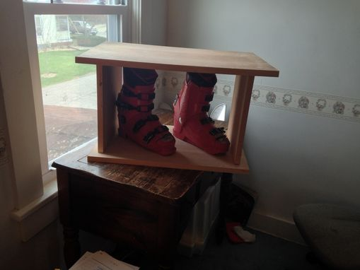 Custom Made Justin's Custom Stool Made From Wood But The Base (Or What Holds The Stool Up) Are Pair Of Ski Boots