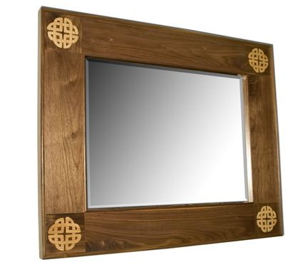Custom Made Celtic Walnut Inlaid Mirror