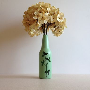 Custom Made Botanical Flower Vase, Recycled Glass Home Decor