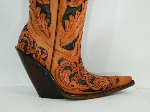 Custom Made 18¨Tall Hand Tooled Western Cowboy Boots Made To Order To Your Size