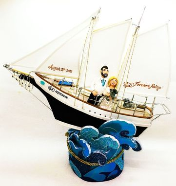 Custom Made Sailing Boat Wedding Cake Topper Look Alike