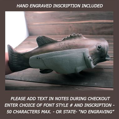 Custom Made Cremation Urn Ceramic Wall Sculpture- Large Bass Fish Trophy For Fishing -Decorative Funeral Urn