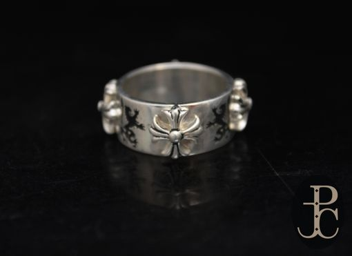 Custom Made Silver Engraved Heraldic Lion Ring