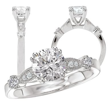 Custom Made *18k White Gold Diamond Engagement Ring Semi-Mount