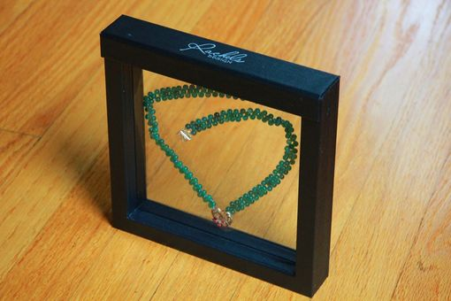 Custom Made Blooming Heart Hand Woven Green Agate Necklace