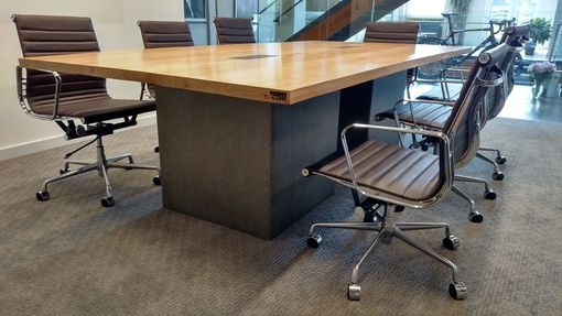 Custom Made Reclaimed Wood And Steel Industrial Conference Table