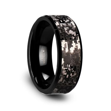 Custom Made Smokescreen Black Tungsten Carbide Wedding Ring With Engraved Black Digital Camouflage - 8mm