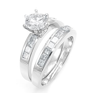 Custom Made Princess Cut Diamond Ring And Matching Band In 14k White Gold, Diamond Wedding Set/Rings
