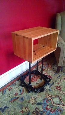 Custom Made Reclaimed Pine And Groove Flooring Side Table With Stacked Base