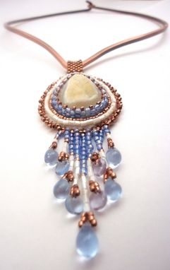 Custom Made Southwest Style Bead Embroidery Druzy & Copper Necklace W/ Pastel Blue Fringe