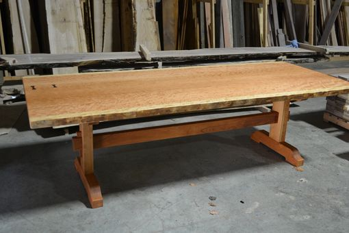 Hand Made Live Edge Dining Table Bookmatched Curly