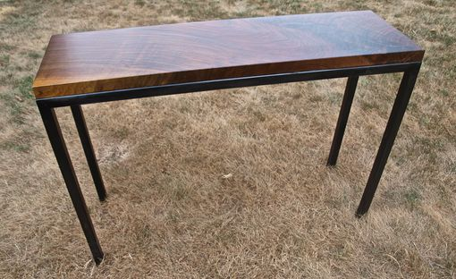 Custom Made Walnut & Steel Console/Entry Table
