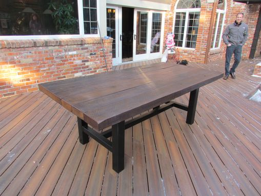 Custom Made Reclaimed Oak And Powder Coated Steel Tables