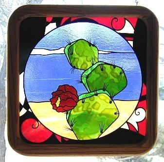 Custom Made Southwestern Cactus In Stained Glass