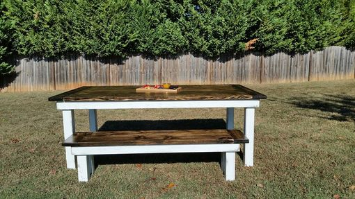 Custom Made Colonial Style Farmhouse Table And Bench