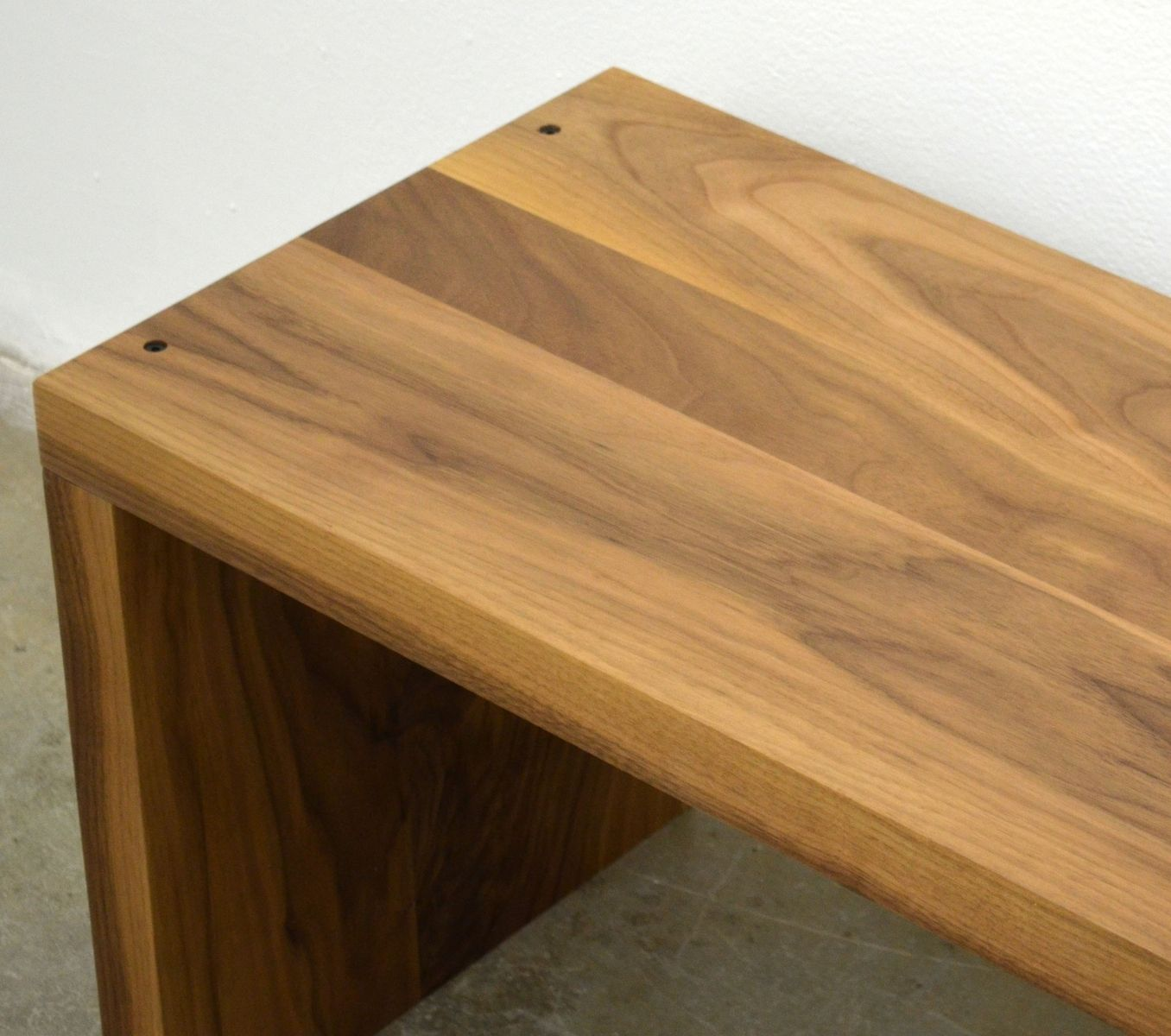 Custom made modern solid walnut wood bench