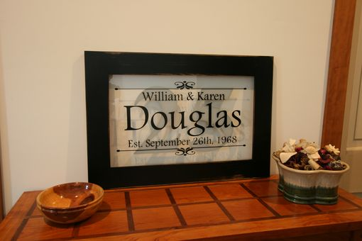 Custom Made Personalized Anniversary Sign In Handcrafted Reclaimed Wood Frame With Distressed Black Finish 15x22