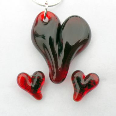 Custom Made Matching Ruby Red Glass Heart Necklace And Earrings Set