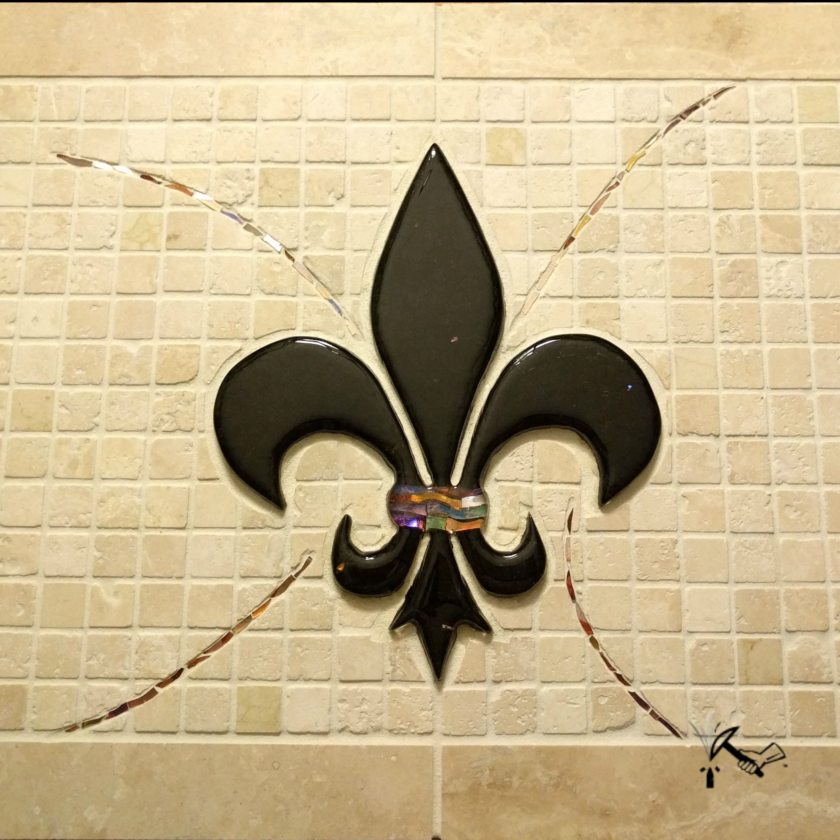 Custom Made Fleur De Lis Mosaic Backsplash by Artisan Crafted Works ...