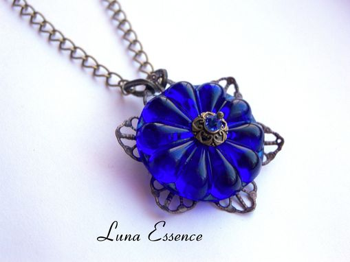 Custom Made Vintage Necklace , Pendant , Royal Blue , Romantic , Gifts For Her , Womans Fashion Jewelry