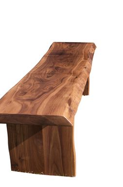Custom Made Walnut Slab Live Edge Bench, Live Edge Bench With Walnut Trestle Style Base