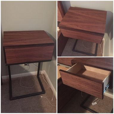 Custom Made Walnut Nightstands With Metal Base