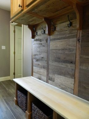 Custom Made Reclaimed Barn Board With Sliding Barn Door Mudroom