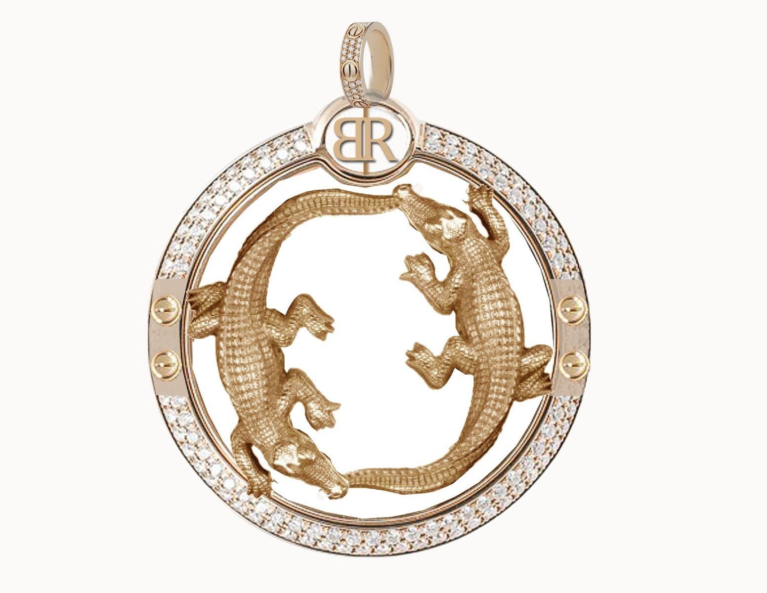 Custom double alligator diamond pendant by jewelryking design lab custom made double alligator diamond pendant aloadofball Image collections