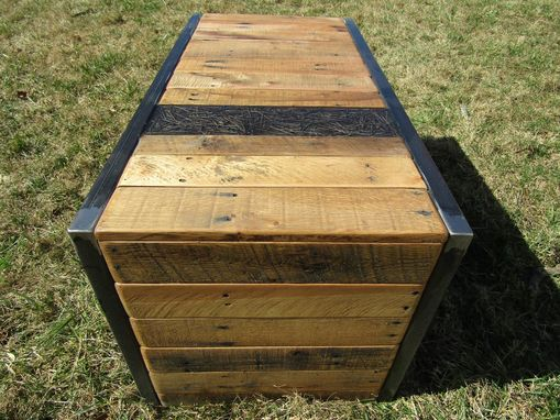 Custom Made Modern Industrial Reclaimed Wood And Metal Coffee Table/ Bench