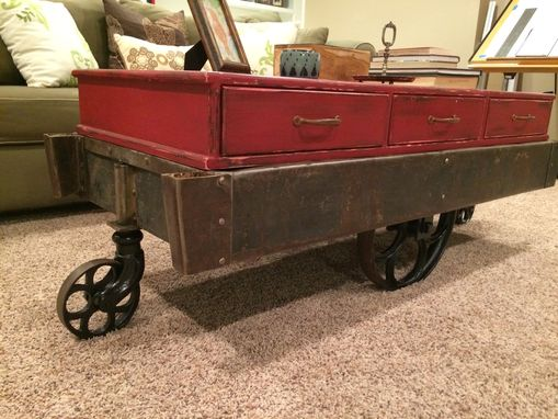 Custom Made Globe Cart Truck - Rare 1911 Metal Cart With Custom Cabinet