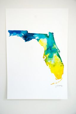 Custom Made Watercolor Print Of The Map Of Florida