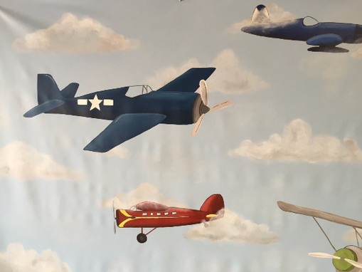 Custom Made Vintage Airplane Mural On Canvas 6' Tall By 8' Wide
