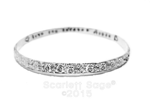 Custom Made Sterling Floral Design Handstamped Bangle