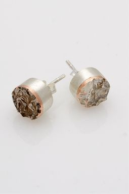Custom Made Reticulated Silver And Copper Stud Earrings