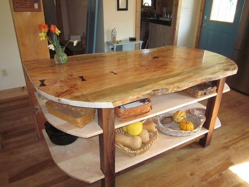 Wide Live Edge Maple Kitchen Island With Walnut Base